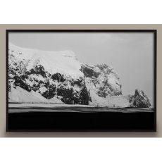 black and white glacier photograph