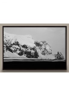 black and white glacier photograph