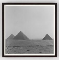 Black and White Photograph of the pyramids of Giza Egypt
