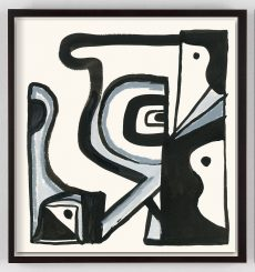 black and white abstract modern art print