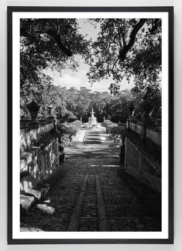 Black and White Photograph of Garden with fountain
