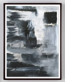 black and white brushy abstract painting
